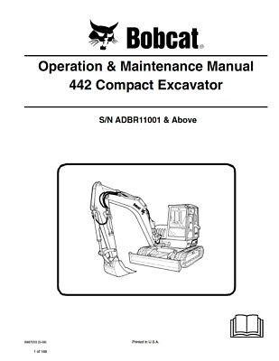 New Bobcat 442 Compact Excavator Operation Maintenance Manual 6987203 2009
