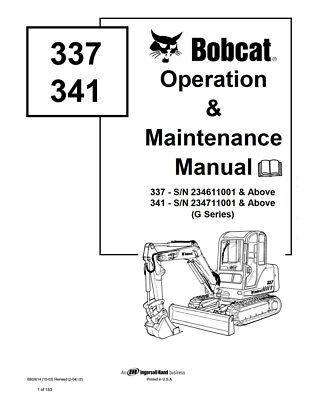 New Bobcat 337 341 Excavator Operation Maintenance Manual 6902614 G-series