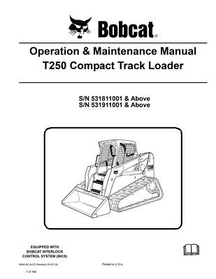 New Bobcat T250 Compact Track Loader Operation Maintenance Manual 6904162