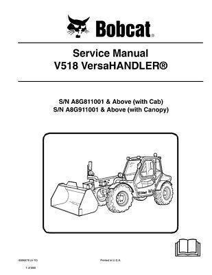 Bobcat V518 Versahandler Telehandler 2010 Edition Repair Service Manual 6986676