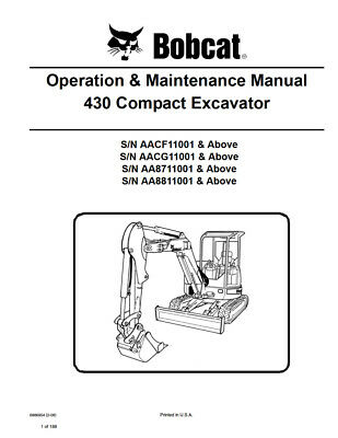 New Bobcat 430 Compact Excavator Operation Maintenance Manual 6986954 Free Sh