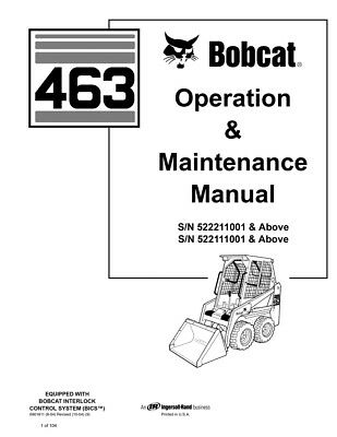 New Bobcat 463 Skid Steer Loader Operation Maintenance Manual 6901811 Free Sh