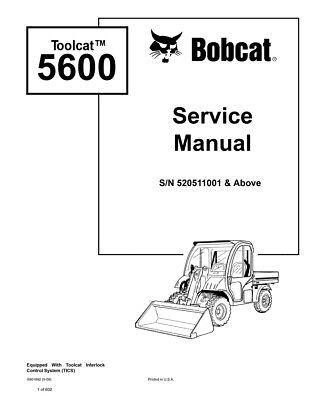 Bobcat Toolcat 5600 Utility Vehicle 2009 Edition Repair Service Manual 6901892