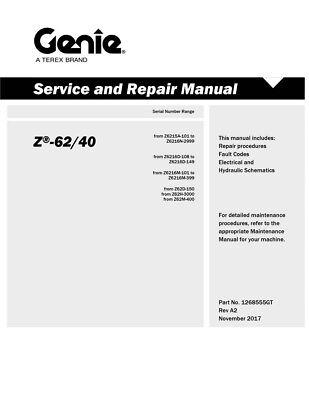 New Terex Genie Z-6240 Repair Service Workshop Manual Articulating Boom Lift