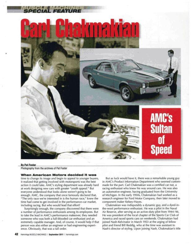 1968-1969-1970 AMC AMX - CARL CHAKMAKIAN STYLIST ~  GREAT 3-PAGE ARTICLE / AD