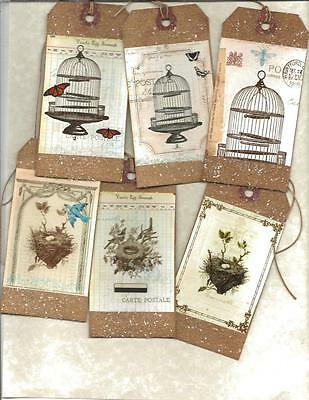 12 PRIMITIVE TAGS ~Birdcages ~HANG TAGS~folk~Grungy~in White