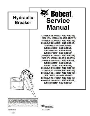 New Bobcat Hydraulic Breaker Repair Service Manual 6720280 Free Shipping