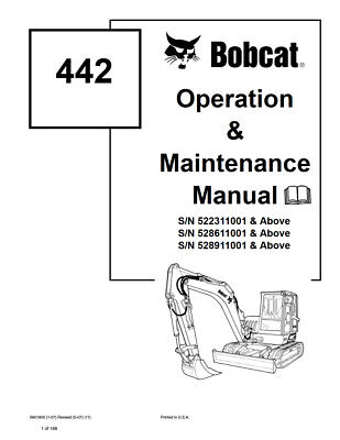 New Bobcat 442 Excavator Operation Maintenance Manual 6901800 2007 Free Shipping