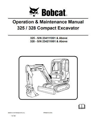 New Bobcat 325 328 Compact Excavator Operation Maintenance Manual 6902610