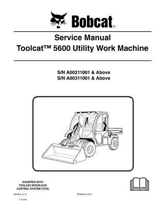 Bobcat Toolcat 5600 Utility Work Machine New 2010 Edition Service Manual 6904209