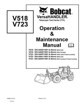 New Bobcat V518 V723 Versahandler Operation Maintenance Manual 6986672