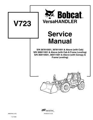 Bobcat V723 Versahandler Telehandler 2007 Edition Repair Service Manual 6902760