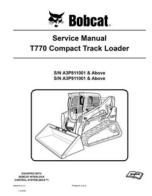 Bobcat T770 Compact Track Loader New 2011 Edition Repair Service Manual 6989476