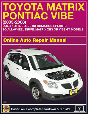 2005 Pontiac Vibe Haynes Online Repair Manual Select Access