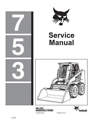 New Bobcat 753 Skid Steer Repair Service Manual 1990 6720326 Free Shipping