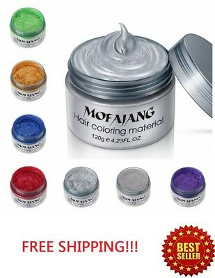 Hair Color Temporary (Hair Color Wax Unisex DIY Dye Cream Temporary Modeling 7 Colors mofajang)