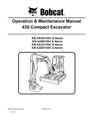 New Bobcat 435 Compact Excavator Operation Maintenance Manual 6986748 Free Sh