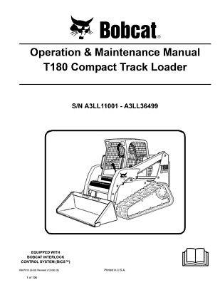 New Bobcat T180 Compact Track Loader Operation Maintenance Manual 6987015