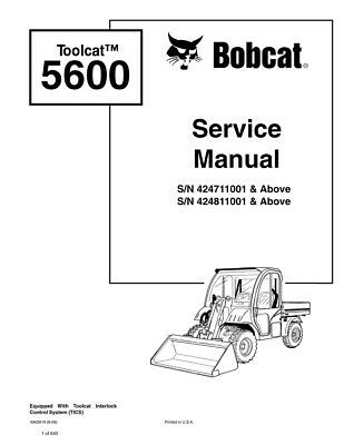 Bobcat Toolcat 5600 Utility Vehicle 2009 Edition Repair Service Manual 6902819