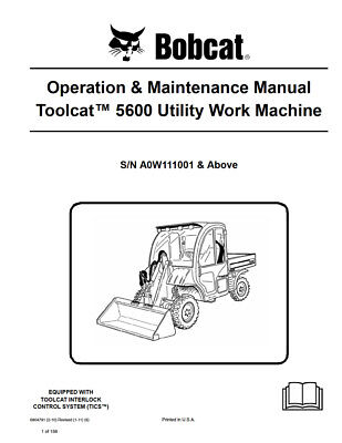 New Bobcat Toolcat 5600 Utility Vehicle Operation Maintenance Manual 6904791