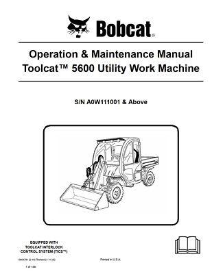 New Bobcat Toolcat 5600 Utility Vehicle Operation Maintenance Manual 6904791