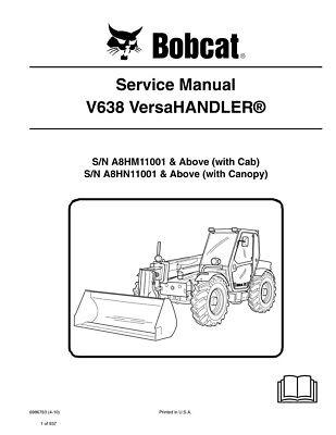 Bobcat V638 Versahandler Telehandler 2010 Edition Repair Service Manual 6986763