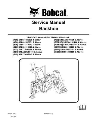 New Bobcat Backhoe Repair Service Manual 6904107