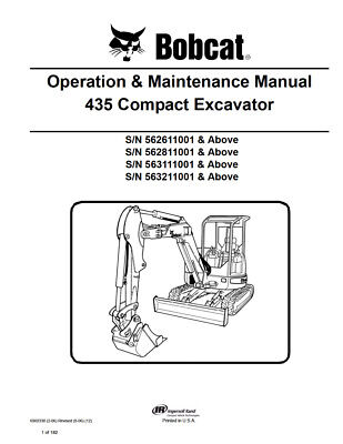 New Bobcat 435 Compact Excavator Operation Maintenance Manual 6902330 Free Sh