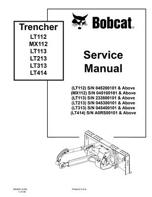New Bobcat Trencher Repair Service Manual 6903281 Free Shipping