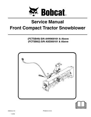 New Bobcat Snowblower Front Compact Tractor Snowblower Service Manual 6989402