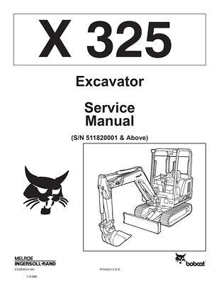 New Bobcat X 325 Excavator 1994 Edition Repair Service Manual 6722849