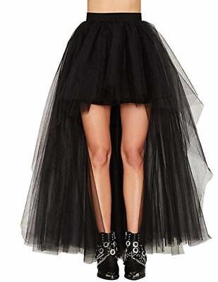 HaoDuoYi Womens Mesh Tulle High Low High Waist Tutu Princess Wedding Skirt