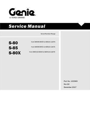 New Terex Genie S-80 S-80x S-85 Boom Lift Service Manual