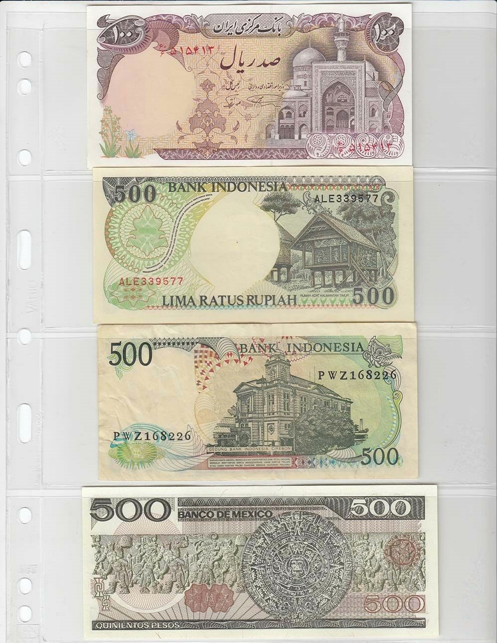 3 RINGS FOR PAPER MONEY 3 POCKET CLEAR SHEET ALBUM PAGE CURRENCY