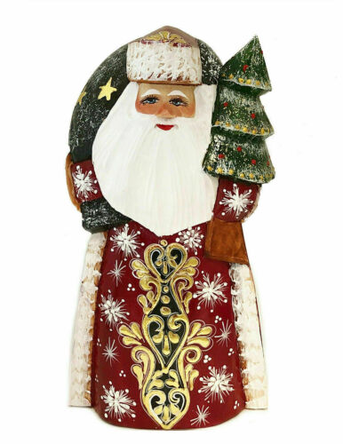 Santa Claus Figurine Russian Hand Painted Wooden Father Frost CHRISTMAS Gift Tre - $132.30
