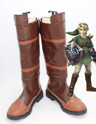 The Legend of Zelda Link Anime Brown Costume Shoes Cosplay Boots Customized Size for sale  Shipping to Canada
