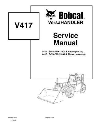 New Bobcat V417 Versahandler Updated 2010 Edition Repair Service Manual 6987144