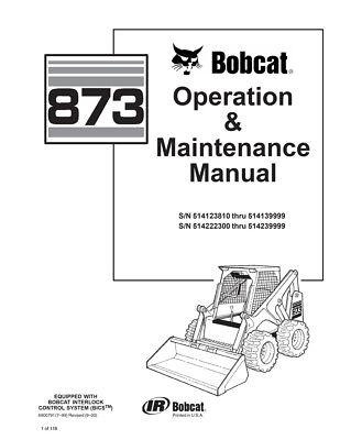 New Bobcat 873 Skid Steer Operation Maintenance Manual 6900369 Free Shipping