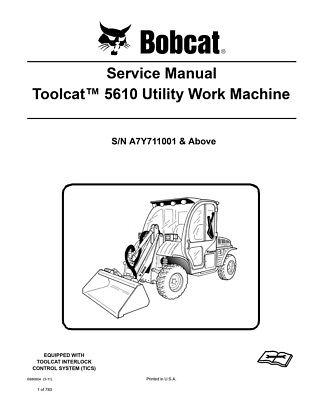 Bobcat Toolcat 5610 Utility Vehicle 2011 Edition Repair Service Manual 6990054