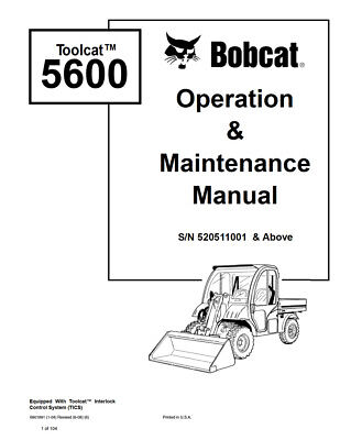 New Bobcat Toolcat 5600 Utility Vehicle Operation Maintenance Manual 6990049
