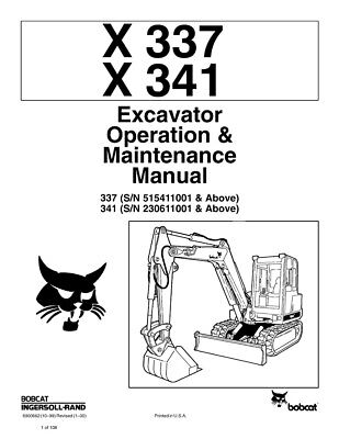 New Bobcat X 337 X 341 Excavator Operation Maintenance Manual 6900662 Free Sh