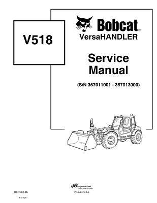 Bobcat V518 Versahandler Telehandler 2006 Edition Repair Service Manual 6901769