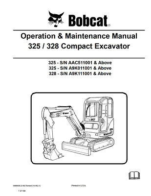 New Bobcat 325 328 Compact Excavator Operation Maintenance Manual 6986939