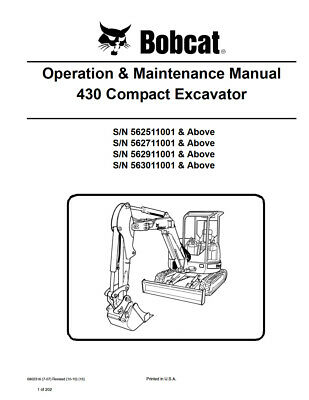 New Bobcat 430 Compact Excavator Operation Maintenance Manual 6902316 Free Sh