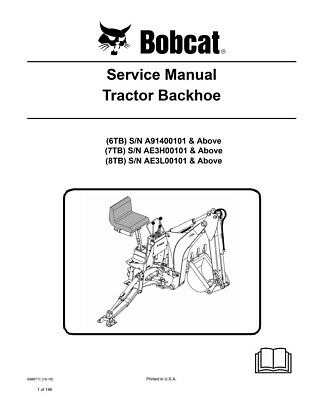 New Bobcat Tractor Backhoe Repair Service Manual 2010 Ed. 6986711 Free Shipping