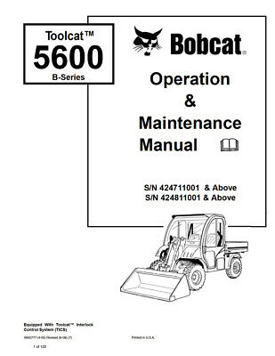 New Bobcat Toolcat 5600 B-series Operation Maintenance Manual 6902777