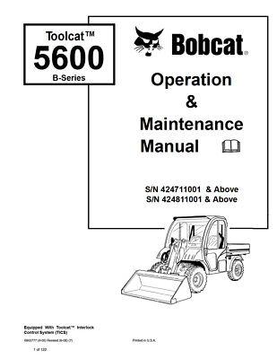 New Bobcat Toolcat 5600 B-series Operation Maintenance Manual 6902777