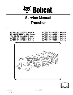 New Bobcat Trencher Repair Service Manual 6900899 Free Shipping
