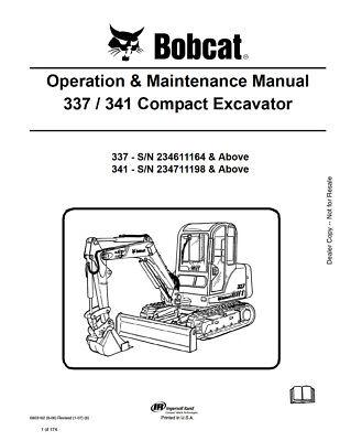 New Bobcat 337 341 Compact Excavator Operation Maintenance Manual 6903162