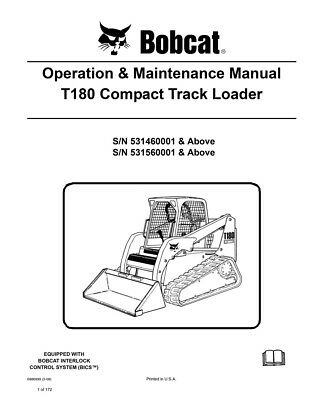 New Bobcat T180 Compact Track Loader Operation Maintenance Manual 6986999